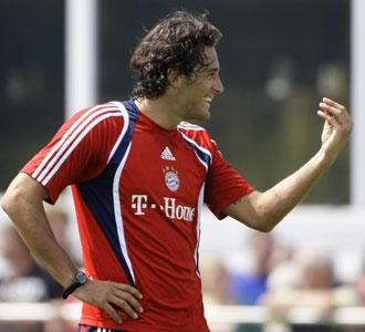 Luca Toni, en un entrenamiento con el Bayern de Munich
