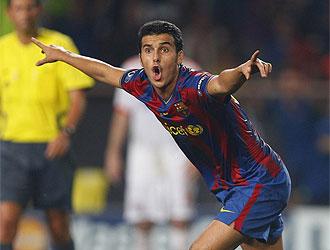 Pedro se volvi� loco en la celebraci�n de su gol.