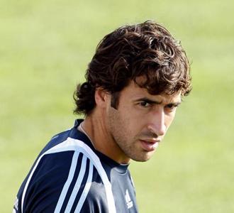 Raúl, durante un entrenamiento del Real Madrid
