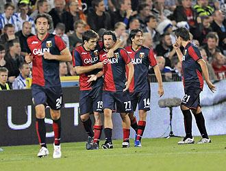 Los jugadores del Genoa, rival del Valencia, celebran un gol en la ronda previa de la Europa League.