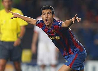 Pedro celebra su gol en la Supercopa de Europa.