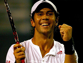 Verdasco celebra un punto durante la final de New Haven