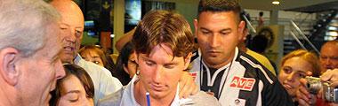 'Gusano', de blanquinegro, junto a Messi