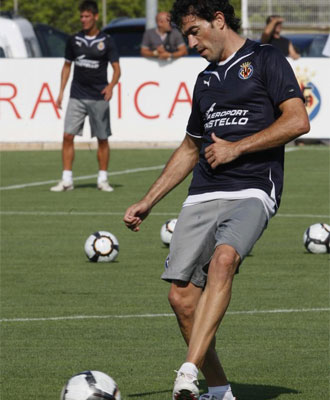 Venta, durante un entrenamiento del Villarreal.