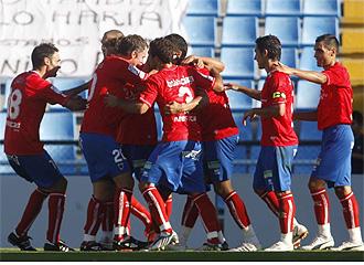 El Numancia celebra su victoria en Balaídos