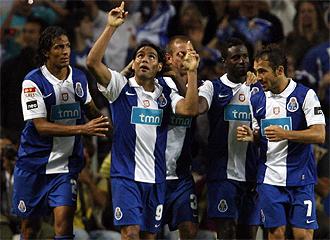 El Oporto celebra un gol.