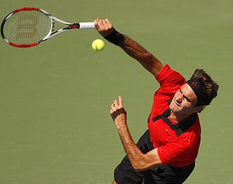 Federer durante el partido ante Hewitt