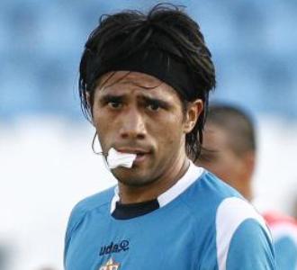 Vargas, en un entrenamiento del Almería