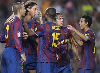 El Barcelona celebra un gol.