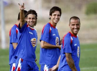 Cortés, Manu y Mario, durante un entrenamiento