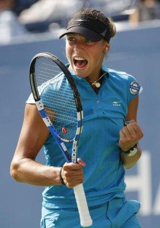 Yanina Wickmayer celebra su victoria ante Kateryna Bondarenko.