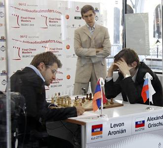 Aronian y Grischuk, durante su partida de la Final de Maestros del Grand Slam. Bilbao
