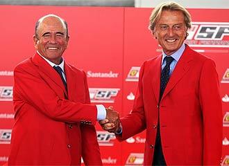 Bot�n y Montezemolo se dan la mano en Monza.