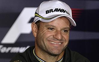 Barrichello durante la rueda de prensa en Monza