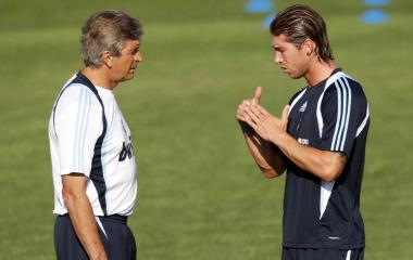 Manuel Pellegrini y Sergio Ramos