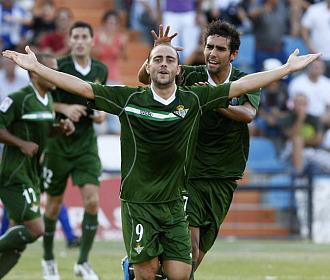 Sergio García celebra un gol ante el Hércules