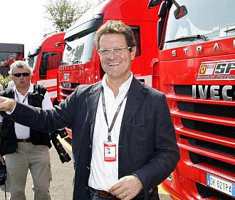 Fabio Capello visit� el box de Ferrari en Monza