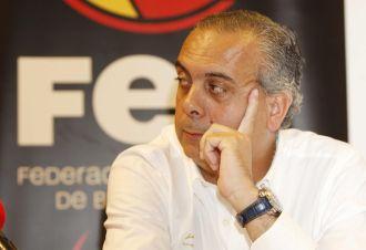 José Luis Sáez, en la rueda de prensa que ofreció junto a Scariolo y Navarro en Polonia.