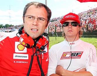 Raikkonen y Domenicali antes de un Gran Premio