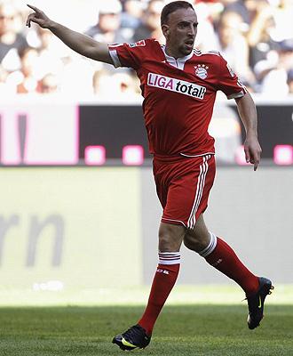 Ribery, durante un partido con el Bayern