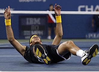Del Potro celebrando su triunfo en el US Open