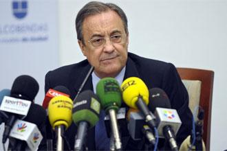 Florentino P�rez durante una rueda de prensa.