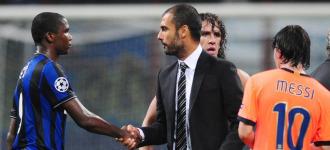 Etoo y Guardiola se saludaron tras el partido