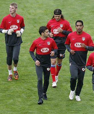 El Atlético durante el entrenamiento de esta mañana