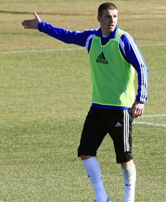 Chus Herrero, en un entrenamiento del Zaragoza.