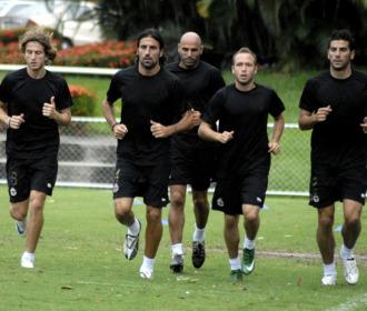 Los jugadores del Depor durante un entrenamiento