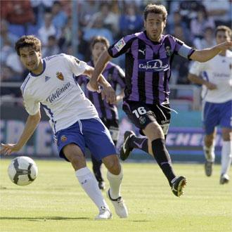 Pedro López y Jorge López, en un lance del encuentro entre Zaragoza y Valladolid.