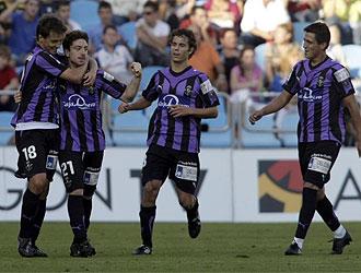 Sisi celebra con sus compañeros el gol logrado en La Romareda.