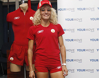 Yesenia, durante un acto de la federación de atletismo