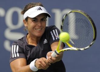 Anabel Medina durante un partido en el US Open.