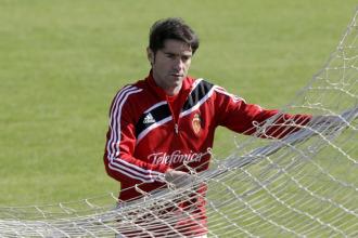 Marcelino durante un entrenamiento del Zaragoza.