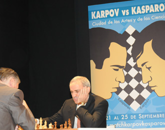 Karpov y Kasparov, en plena partida.