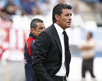 Míchel durante el partido ante el Almería
