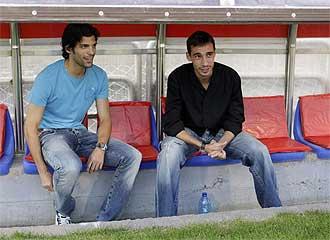 Lafita y Pablo Amo en el banquillo de La Romareda antes del Zaragoza-Getafe.
