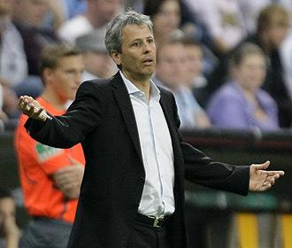 Favre, durante un partido del Hertha