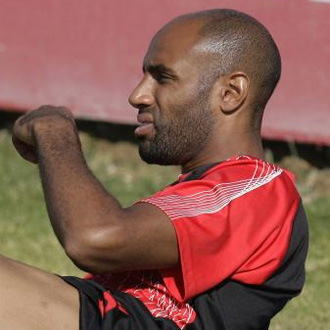 Kanouté, en un entrenamiento del Sevilla