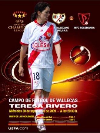 Cartel del partido de UEFA Women's Champions League en Vallecas.