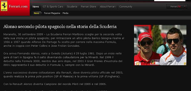 El web de Ferrari anunció el fichaje de Fernando Alonso para la próxima temporada.