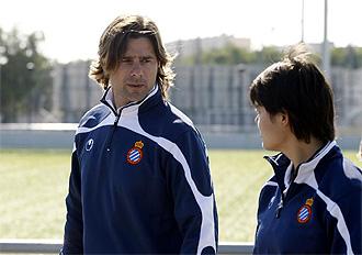 Pochetino, en un entrenamiento del Espanyol.