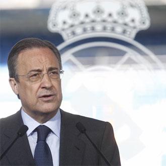 Florentino P�rez, en la presentaci�n de Pellegrini.