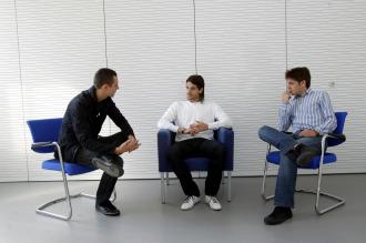 Gago, en un momento de la entrevista con Ulises S�nchez-Flor y Juan Ignacio Garc�a-Ochoa.