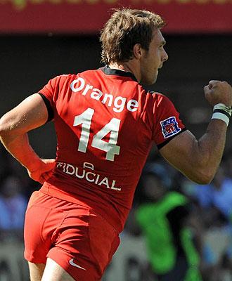 Vincent Clerc, en la imagen celebrando una marca con el Stade Toulousain, se ha convertido en el máximo anotador de ensayos en la historia de la Heineken Cup
