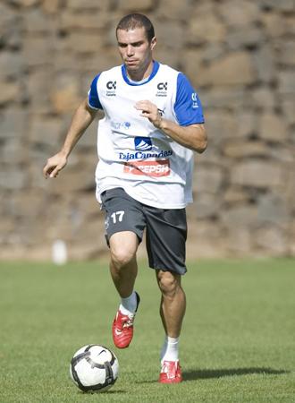 Juanlu Hens, en un entrenamiento del Tenerife.