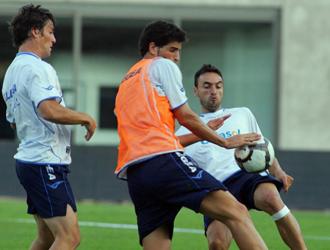 Bermejo, Leandro y Momo, durante un entrenamiento del Xerez.