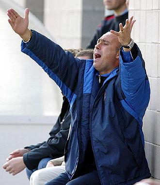 Tint�n M�rquez realiza unos gestos durante un entrenamiento con el Espanyol, en una imagen de archivo