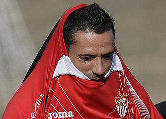 Palop durante un entrenamiento del Sevilla